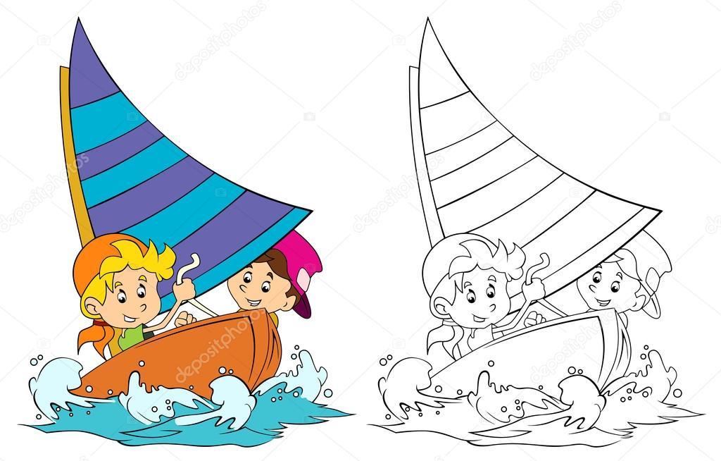 Cartoon Kinder Spaß Segeln - mit Färbung Seite — Stockfoto ...