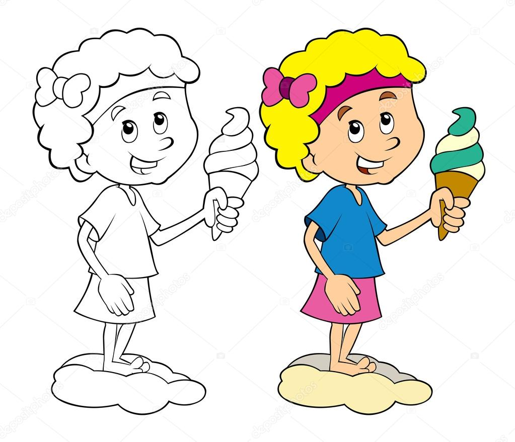 Cartoon Kid Having Fun Eating Ice Cream
