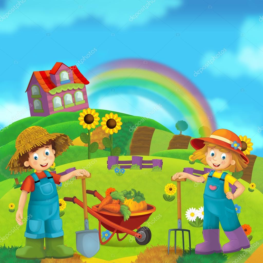 Cartoon scene of couple working on the farm