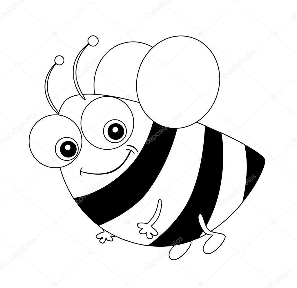 Cartoon-Biene fliegen - Malvorlagen - isoliert — Stockfoto ...