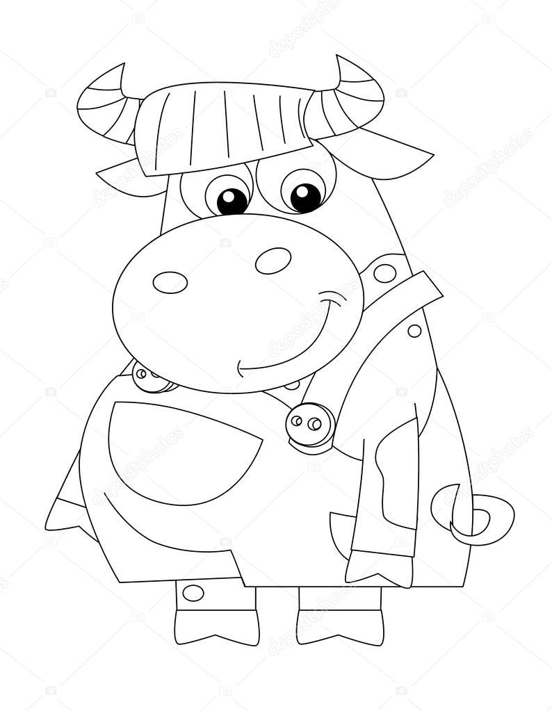 Dibujos animados feliz vestida de vaca - de pie y sonriendo - página ...