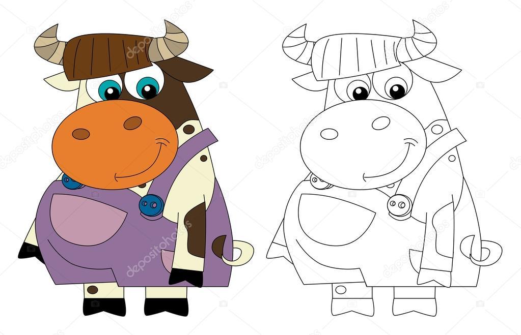 Vaca feliz - de pie y sonriendo - vestidos - aislada - con página ...