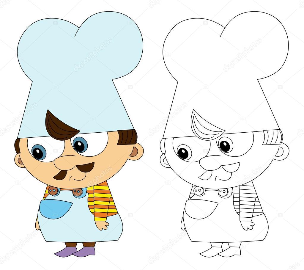 Cartoon Keuken Chef Kok Geisoleerd Met Kleurplaat Pagina