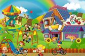 Kreslené scény hřiště a děti barevné budovy