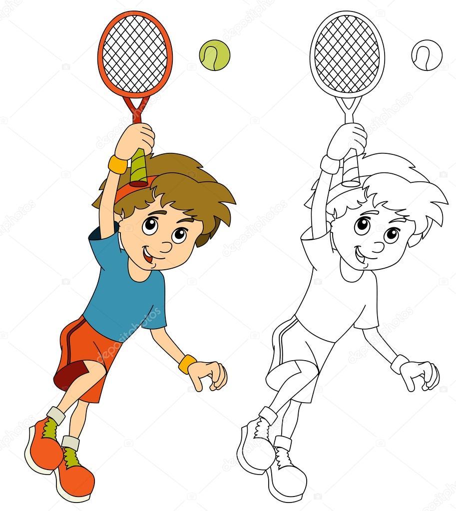 Kinder Tennis spielen - springen mit Tennisschläger — Stockfoto ...