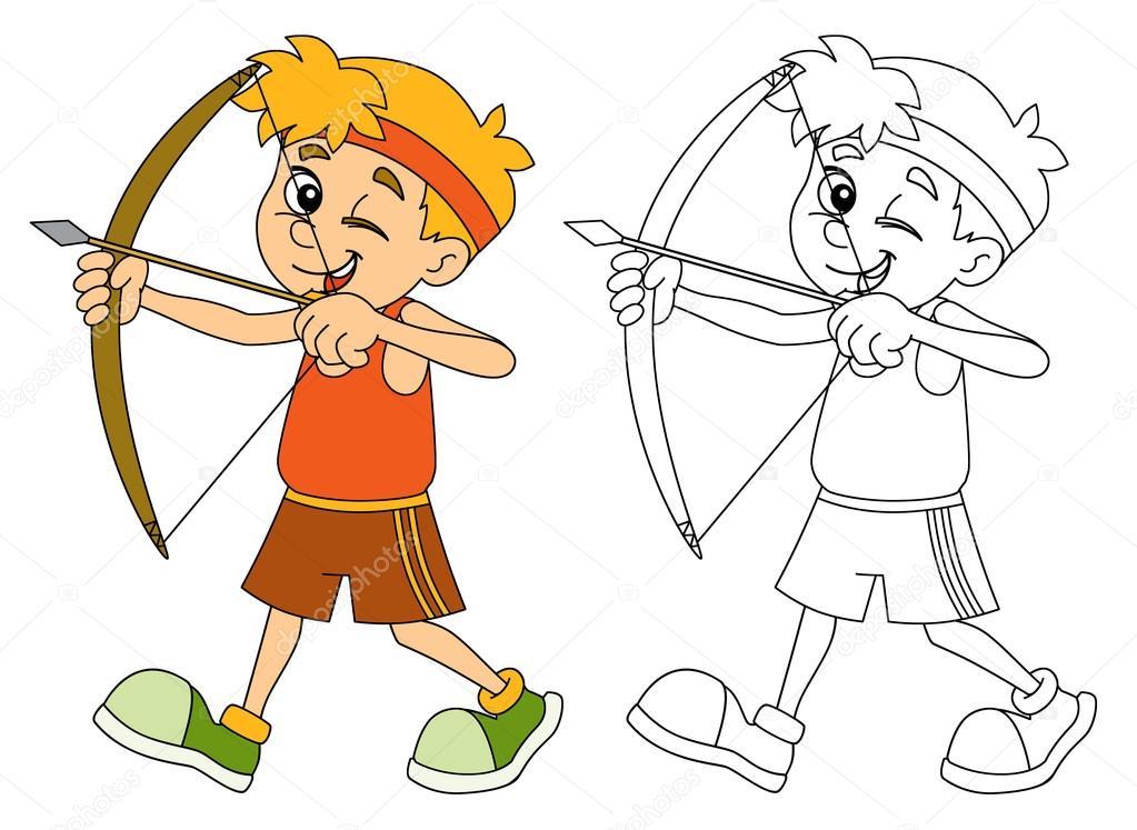 Disparar - arco - página para colorear de niños — Foto de stock ...