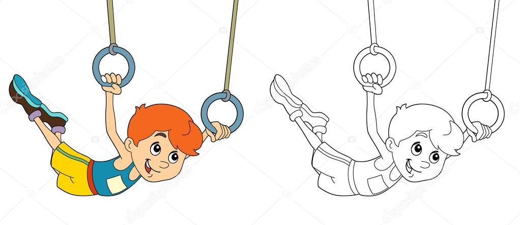 Dibujos animados niño entrenamiento - página para colorear — Fotos ...
