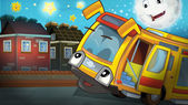 Photo cartoon bus and friendly moon