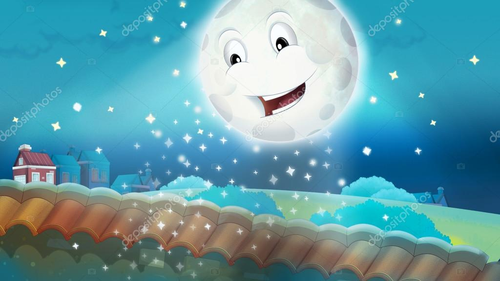 shining moon on sky Cartoon happy scene