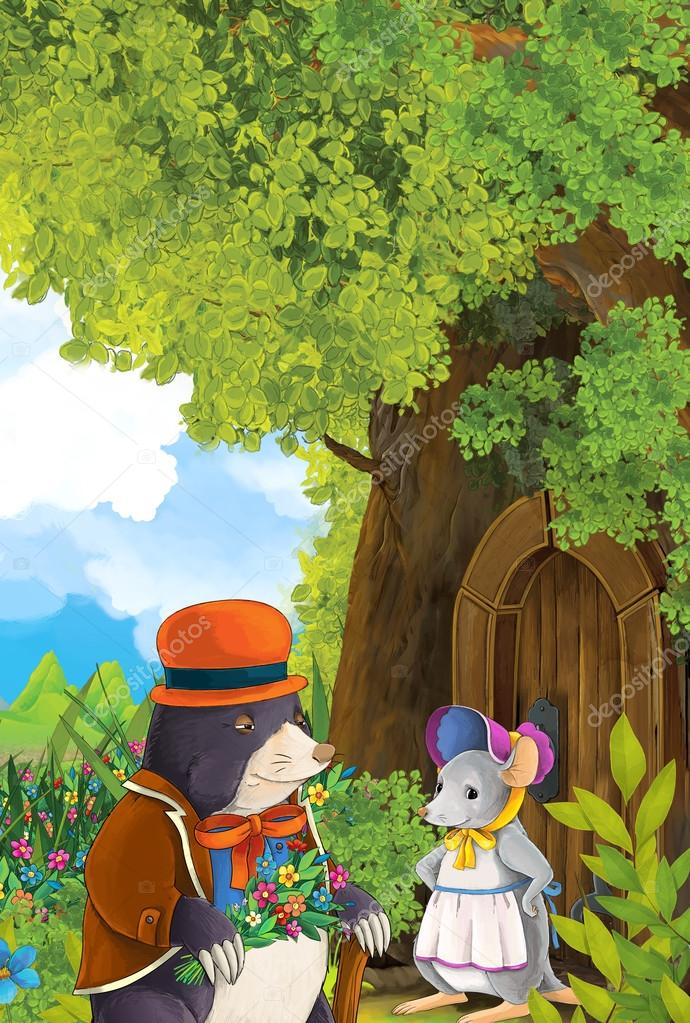 mole coming to visit to a mouse that is living in a tree house