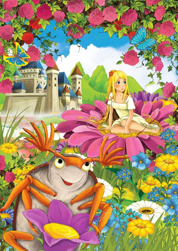 Cartoon scene of a elf princess and a bug like beetle - castle in the background