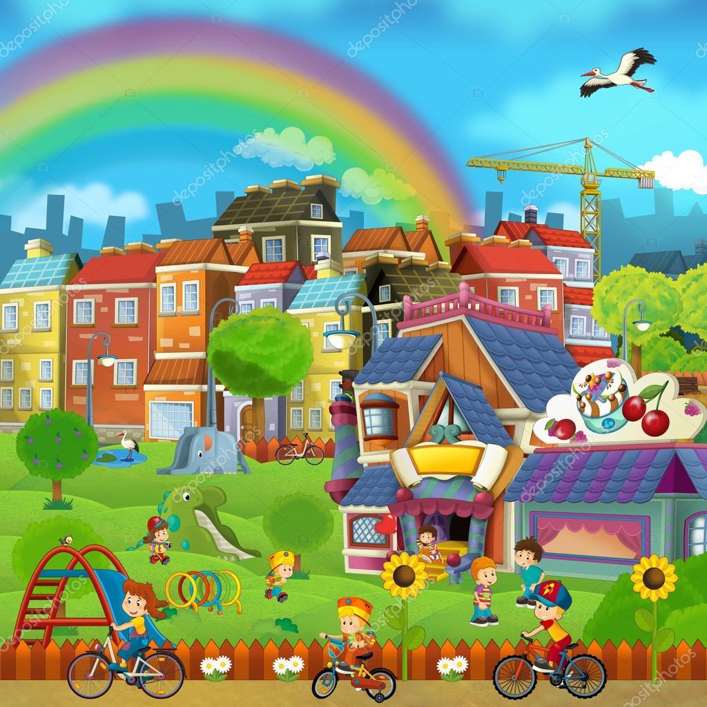 Escena de dibujos animados de una ilustración - niños del pequeño ...
