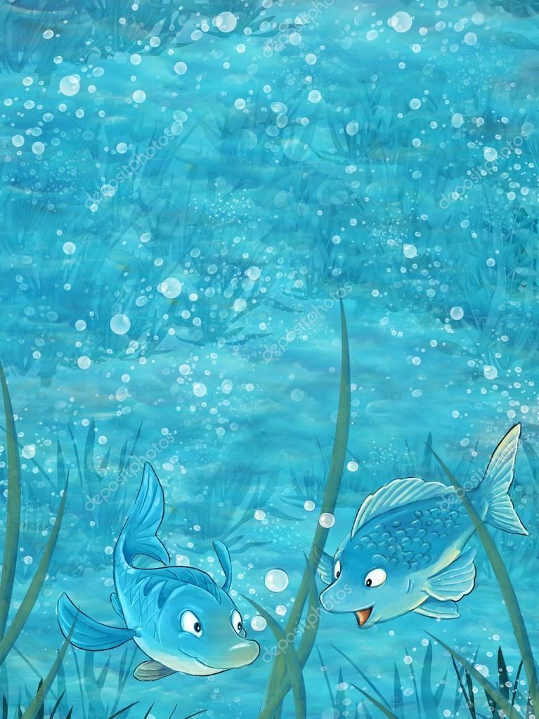 zeichentrickszene mit zwei fischen unter wasser