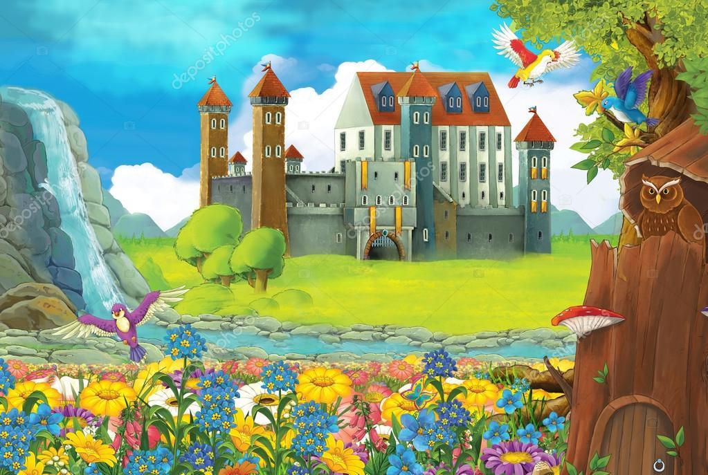 Escena de dibujos animados con un castillo y una casa de - Castillos para ninos de infantil ...