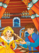 Prince and princess in the castle hall - talking