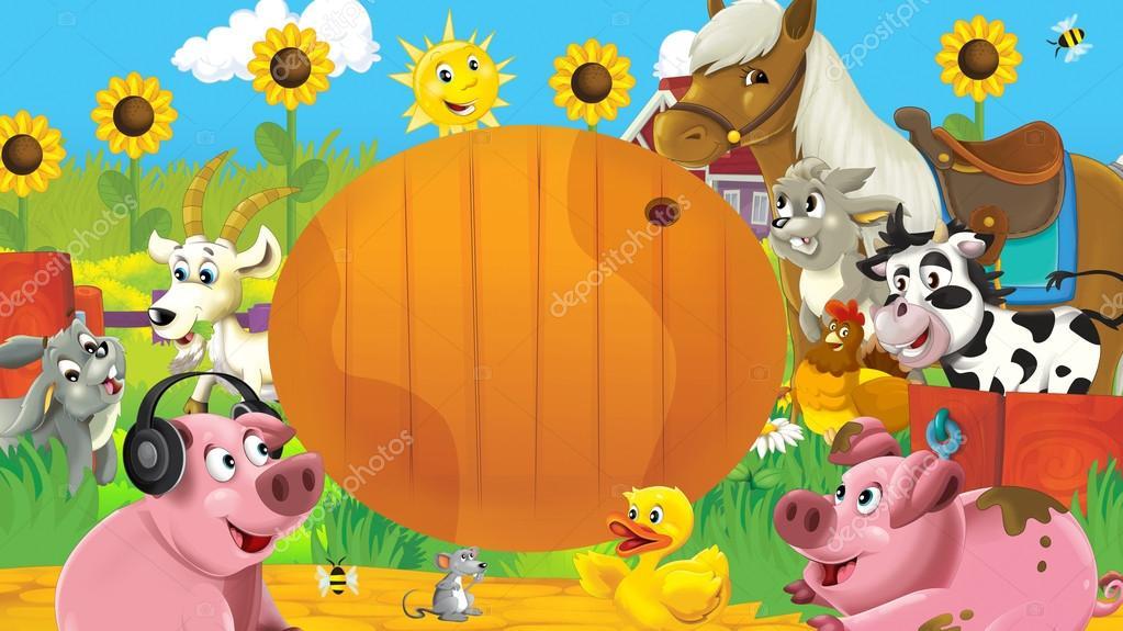escena de la granja con marco - animales felices — Fotos de Stock ...