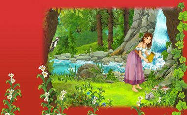 Cartoon fairy tale scene in forest