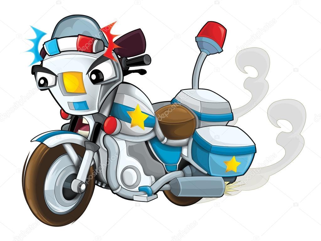 Moto De Policia Aislado Ilustracion Para Los Ninos De Dibujos