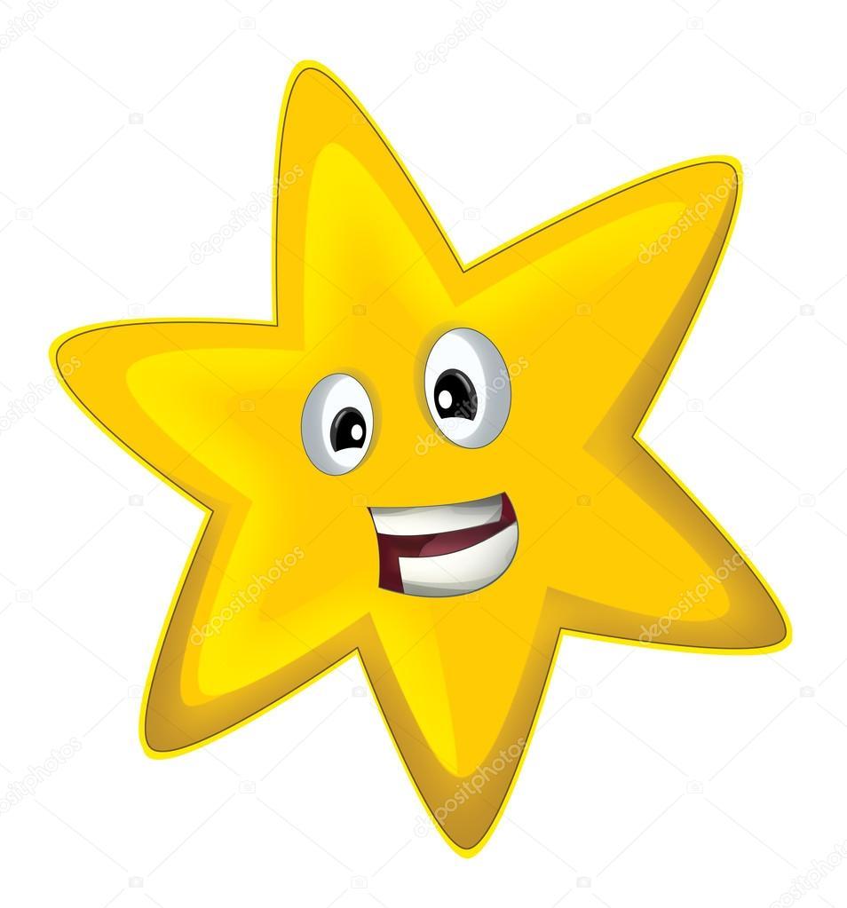 Ilustración - aislado - estrella feliz de dibujos animados para ...