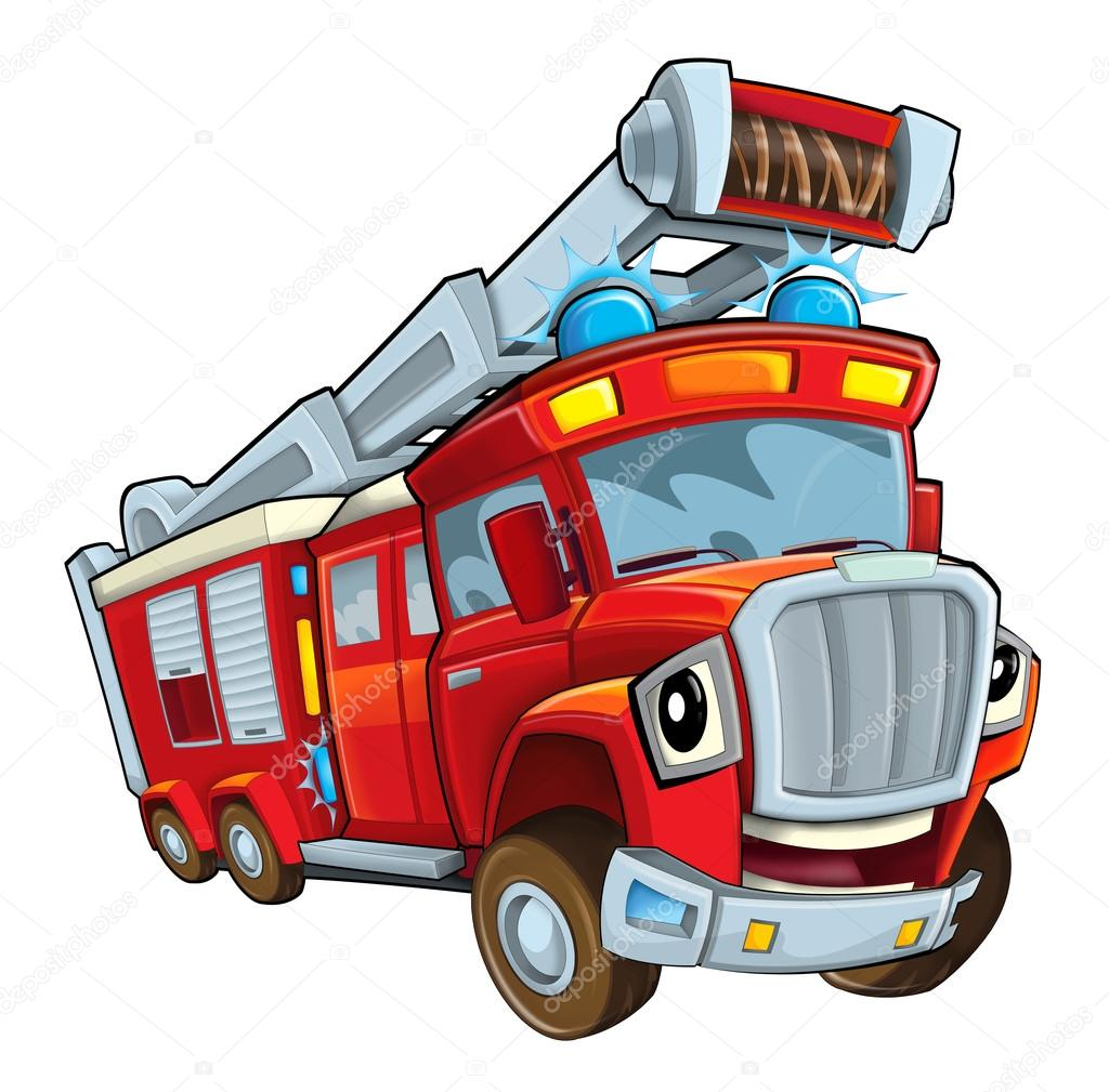 Dibujos Animados Bomberos Camión De Bomberos Rojo De