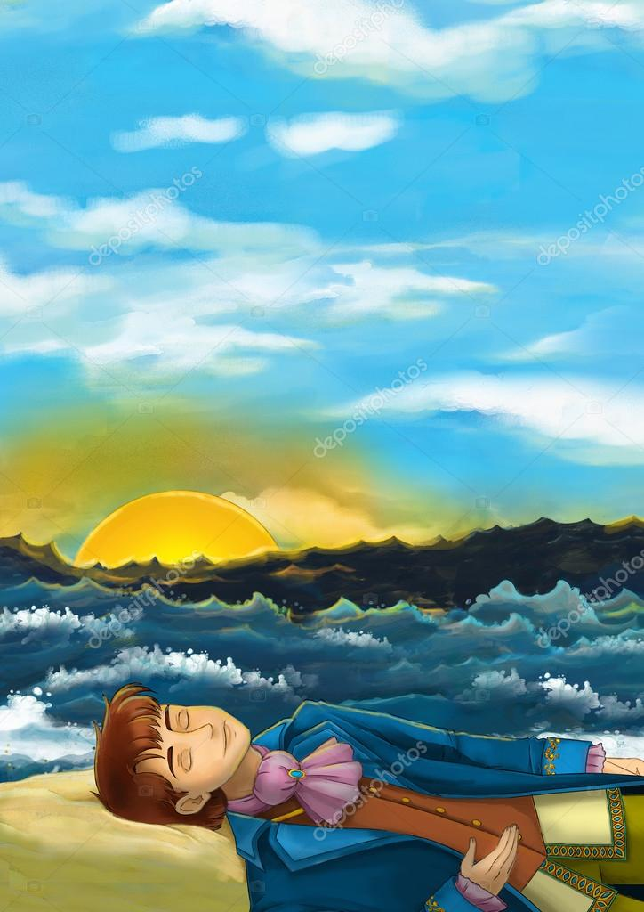 Cartoon scene of sleeping or unconscious man on the beach near the ocean - looking like prince - illustration for children