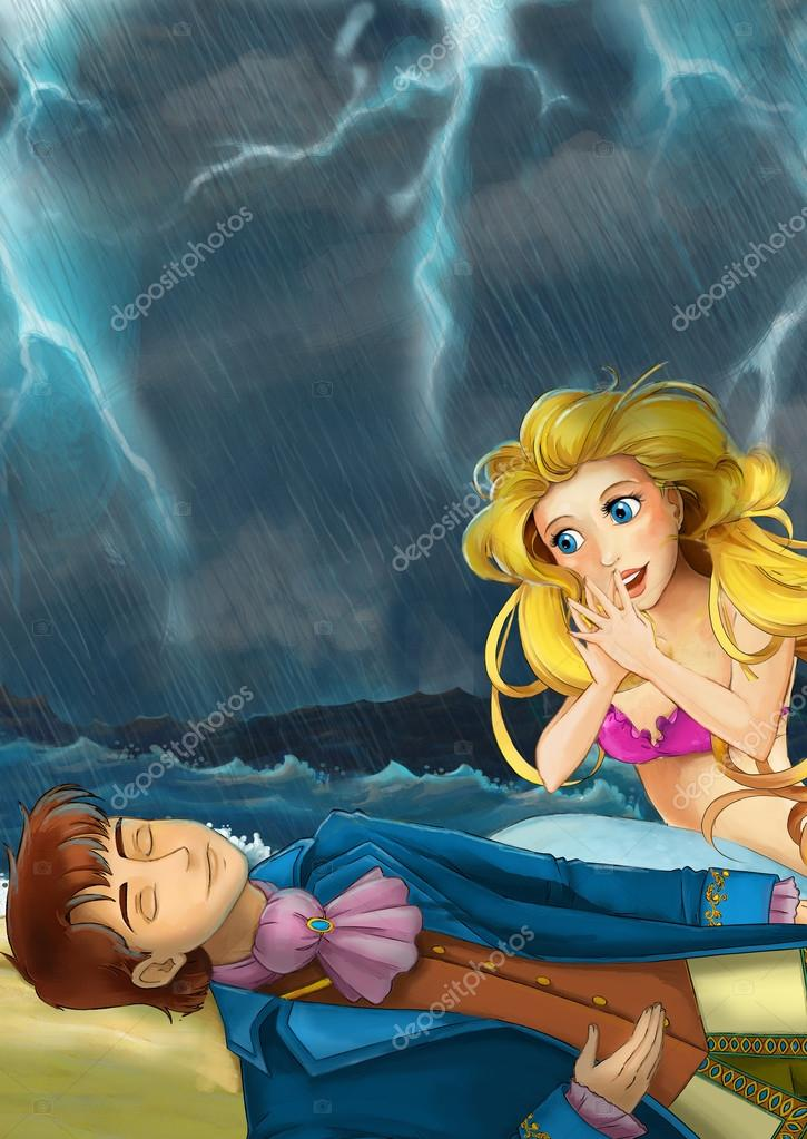 mermaid helping young prince in storm