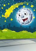 Scena del fumetto con Luna felice o meteorite e stella di fucilazione di notte - illustrazione per bambini