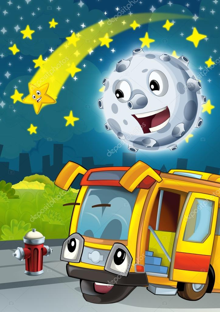 Cartoon scene with happy moon or meteorite and shooting star by night talking with bus- illustration for children
