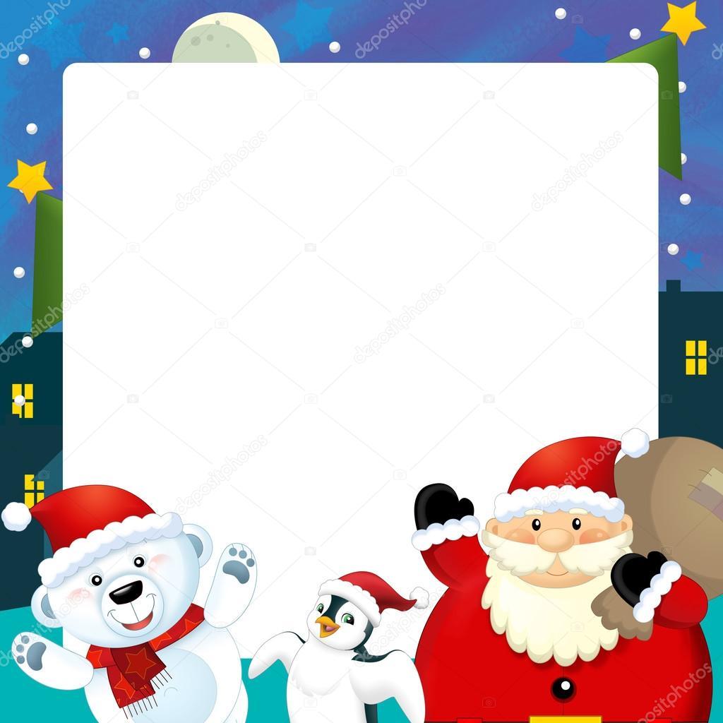 Dibujos animados de ilustraci n de marco espacio para el for Dibujos postales navidad ninos