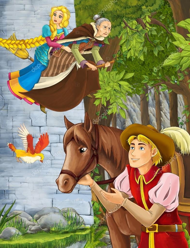 Cartoon scene of a nobleman in the forest - some prince or traveler encountering tower and princess flying on the broomstick with the witch - horse - beautiful manga girl - illustration for children