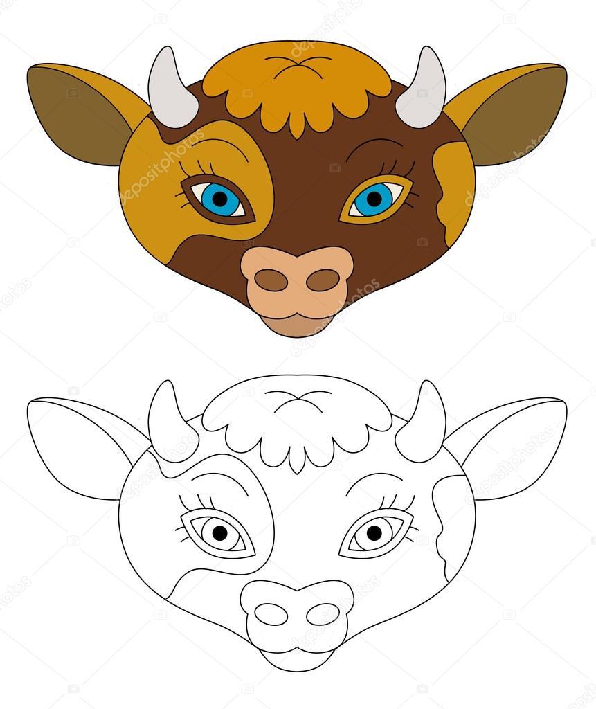 Cartoon Kuh Gesicht   isoliert   mit Malvorlagen   Illustration