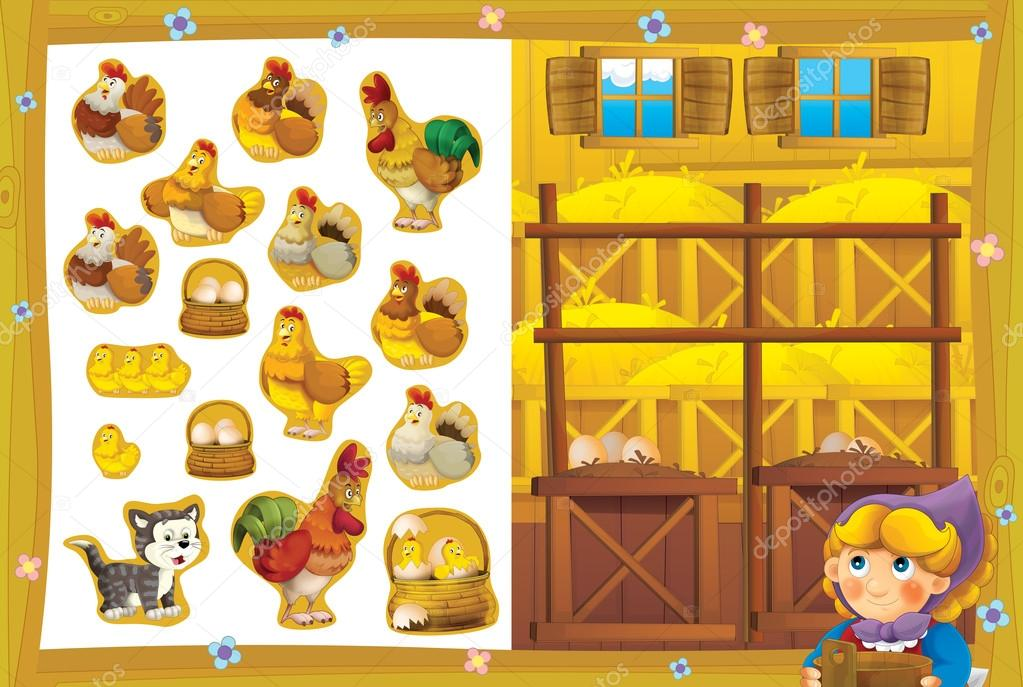 The hostess in the happy chicken coop for eggs smiling - exercise page - stickers isolated - bright illustration for children - educational