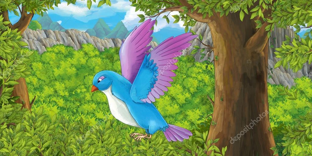 Dibujos Animados Aves Volando En El Bosque