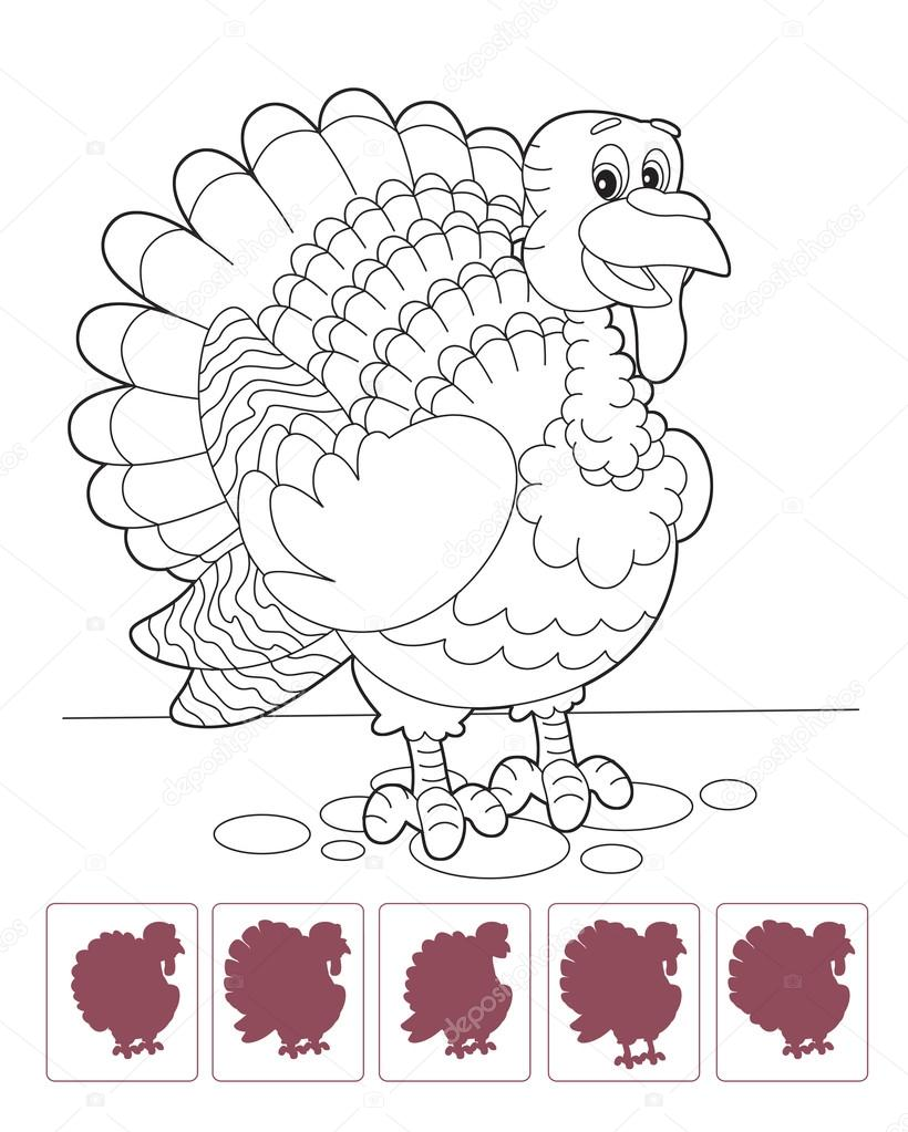 Cartoon turkey - coloring page with shadow matching — Stock ...