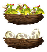 dinosaurs - pterodactyls - hatching - set with nests