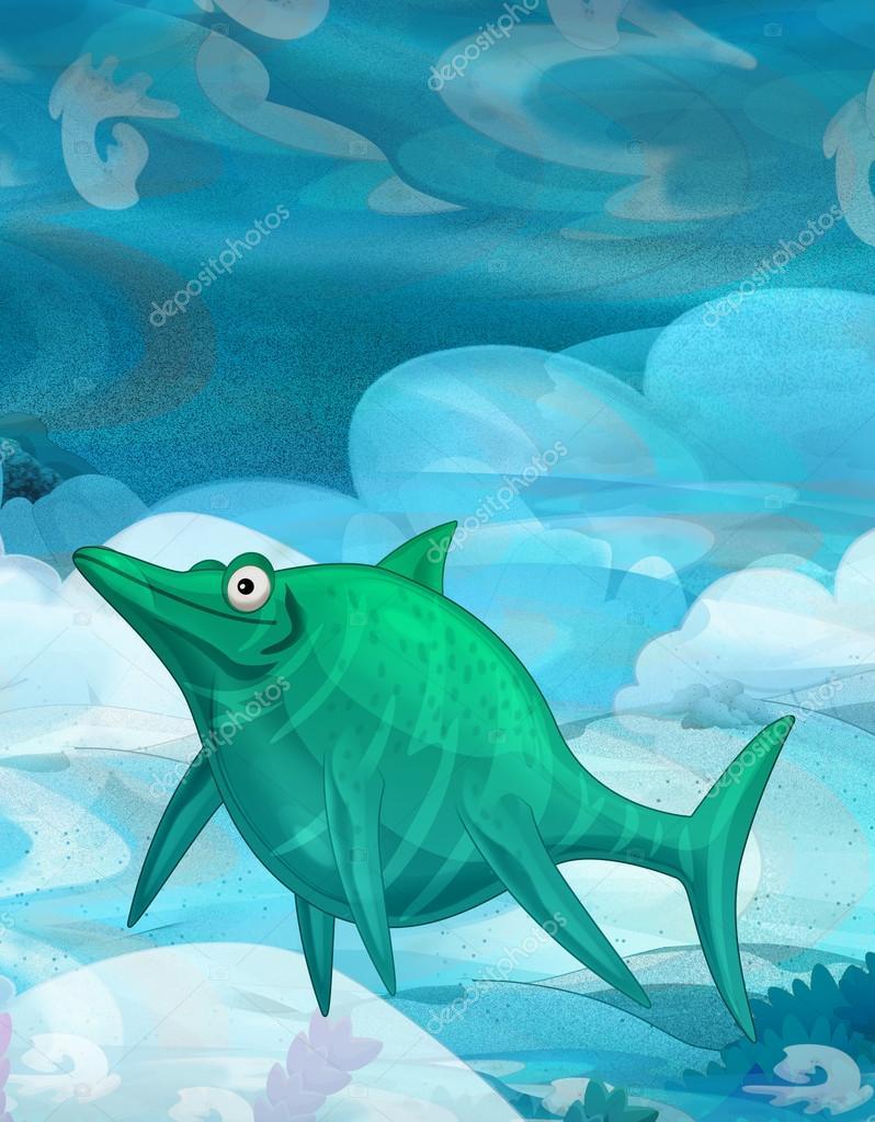 Cartoon underwater dinosaur