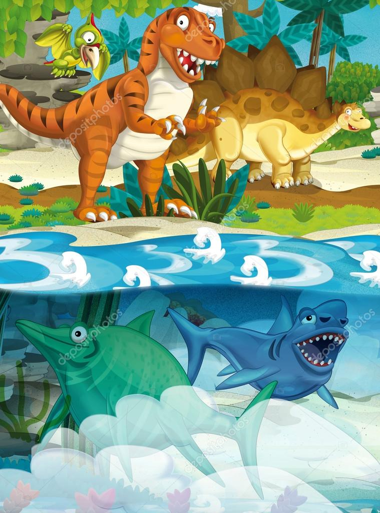 Cartoon happy dinosaur - tyrannosaurus and underwater dinosaur - illustration for the children