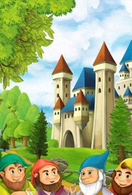 dwarfs near big and colorful castle