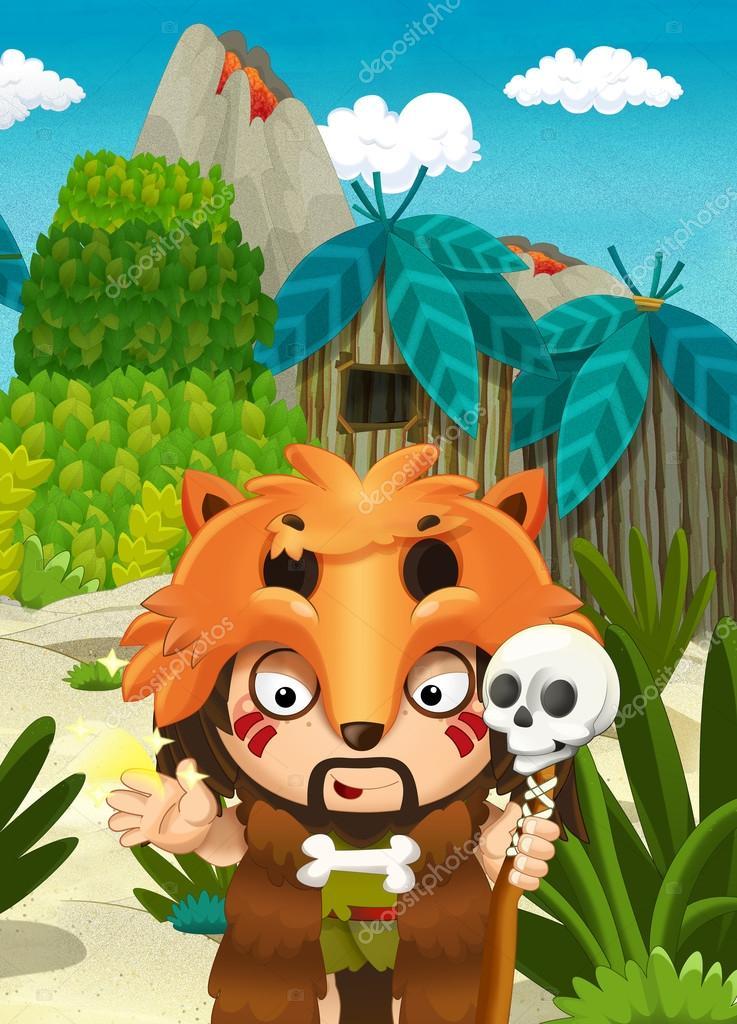 Cartoon Art Szene Dschungel Mit Lustigen Manga Boy Glücklich