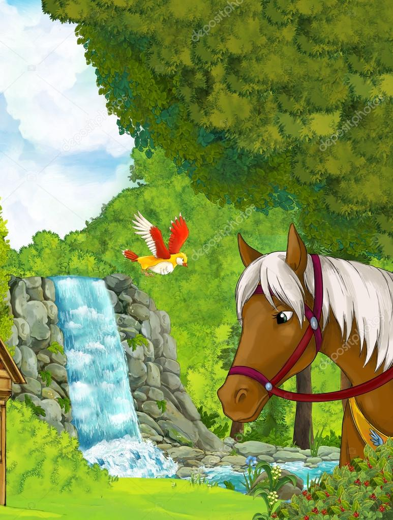 waterfall inside the forest - with horse on the first stage