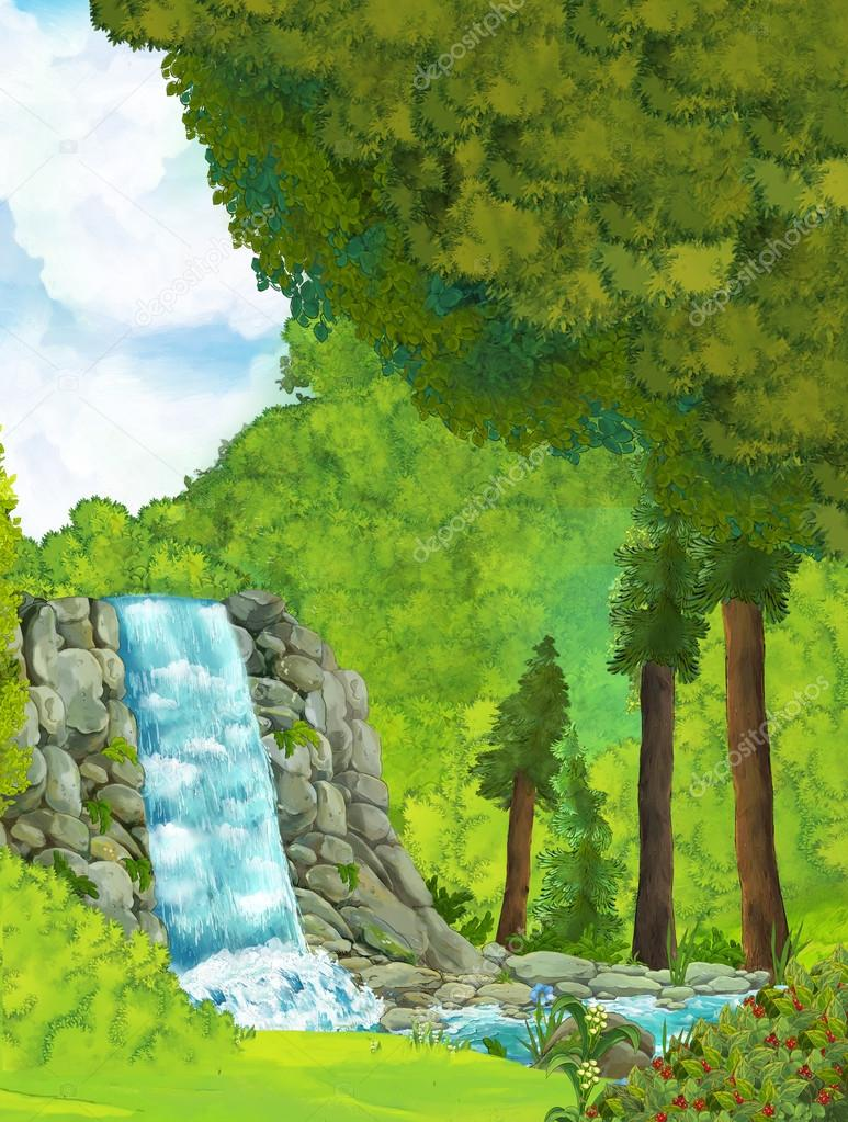 Cartoon scene with waterfall inside the forest