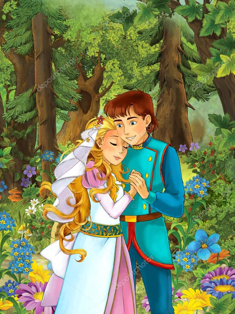 cute prince and princes in the forest