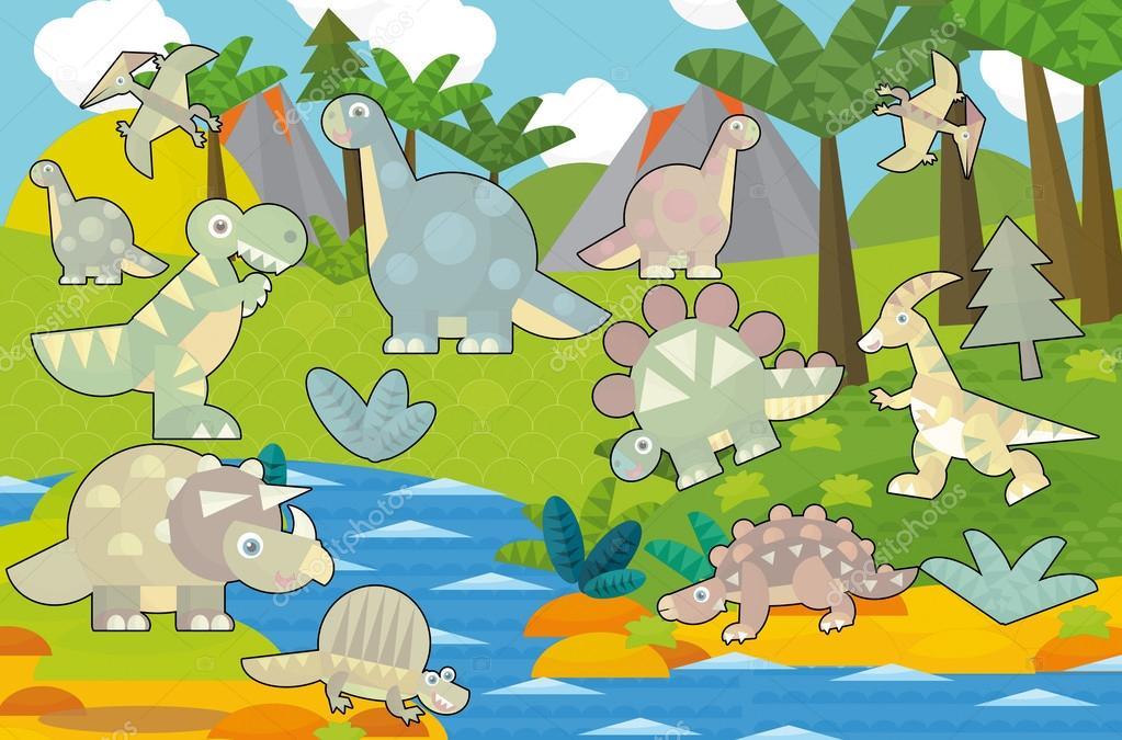 Cartoon scene - dinosaur land