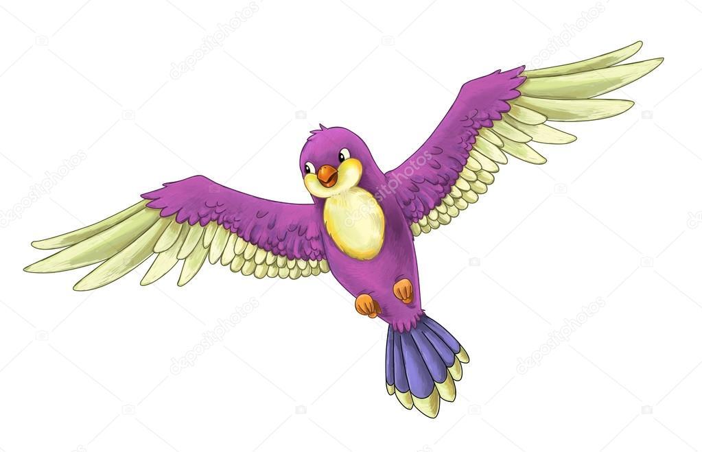 Cartoon Exotic Colorful Bird Flying Stock Photo