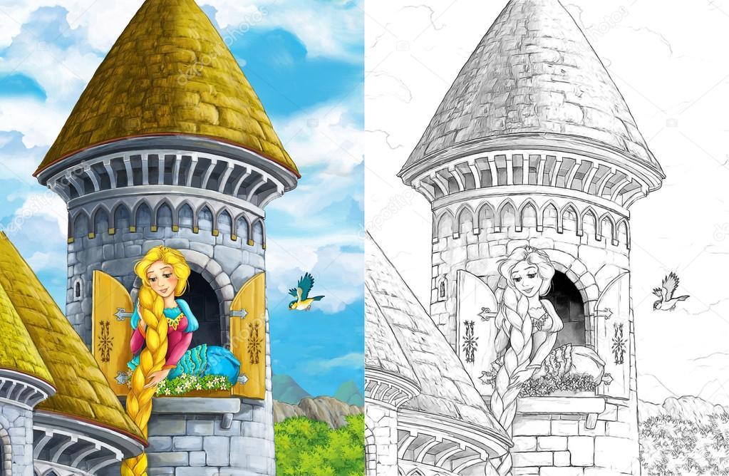 escena con la torre del castillo - princesa en la ventana — Foto de ...