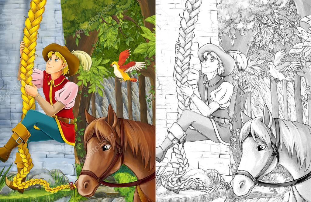 escalada en la torre - el caballo del príncipe está cercano — Foto ...