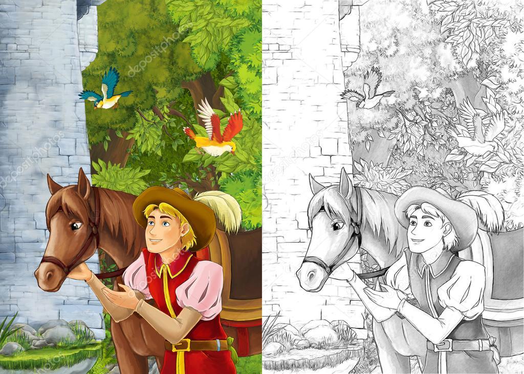 Príncipe o viajero - está cercano de su caballo — Fotos de Stock ...