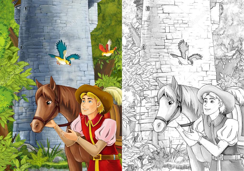 Príncipe o viajero - está cercano de su caballo — Foto de stock ...