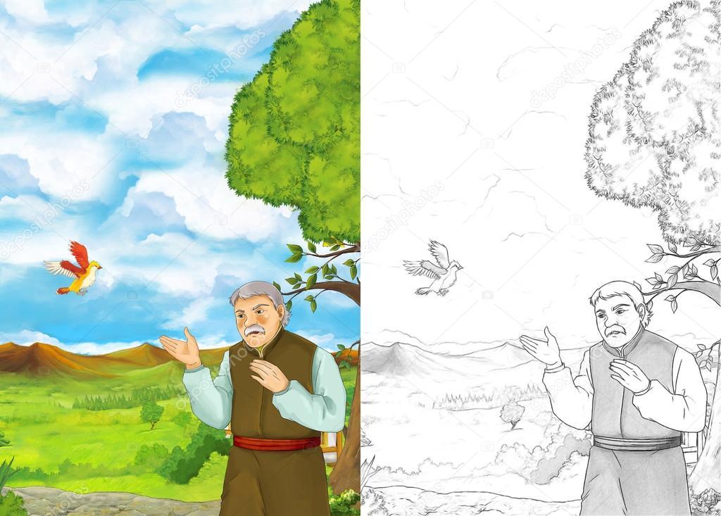 Imágenes: aldeanos para colorear | hombre joven en un jardín — Foto ...