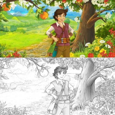young traveler or prince in the forest